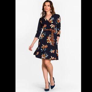 Leota perfect wrap dress Santa Barbra floral blue